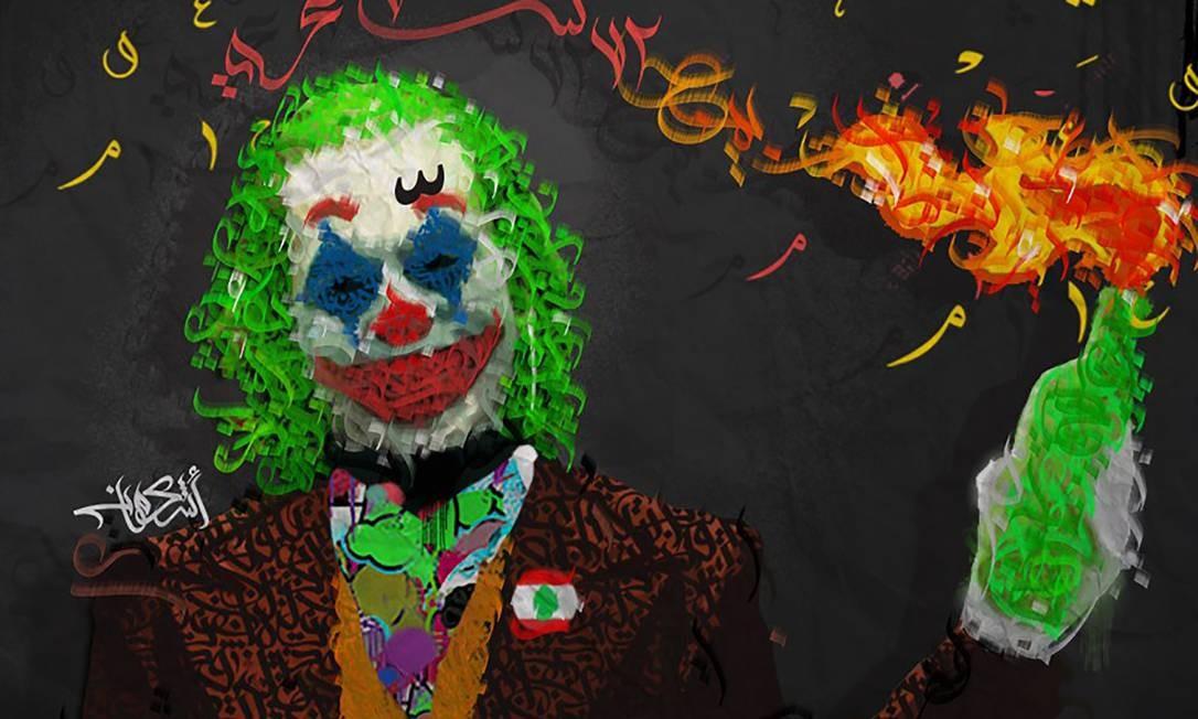 """Desenho representando o personagem Coringa, dos quadrinhos e filmes da DC, segurando um coquetel molotov, com as palavras árabes """"72 horas"""" rabiscadas na ilustração em referência ao discurso do primeiro-ministro, Saad Hariri Foto: - / AFP"""