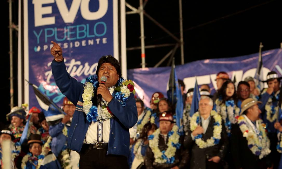 Morales no último comício; gestão prudente e elo com empresários o distinguiram dos demais bolivarianos Foto: / Manuel Claure/REUTERS/16-10-2019