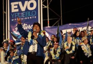 Morales no último comício; gestão prudente e elo com empresários o distinguiram dos demais bolivarianos Foto: Manuel Claure/REUTERS/16-10-2019