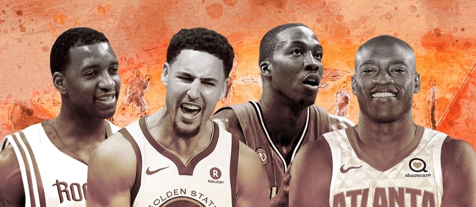 McGrady, Klay Thompson, Dwight Howard e Vince Carter: alguns dos maiores da NBA vistos pelos brasileiros Foto: Editoria de Arte