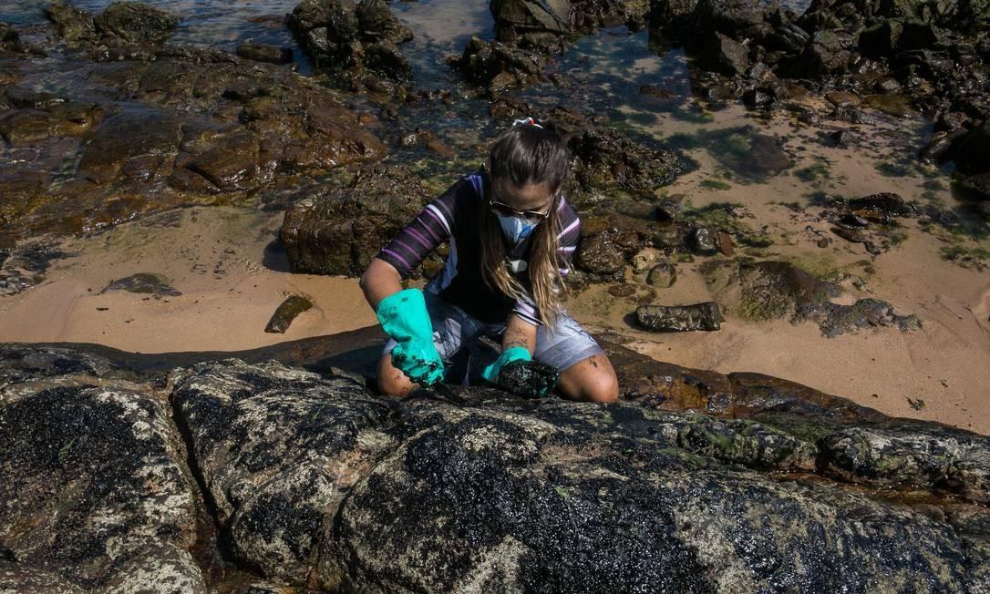 O óleo continua a chegar nas praias do Nordeste, na Praia do Sal em Itapuã, Salvador, Bahia, volntário retira o petróleo que chegou as pedras Foto: ANTONELLO VENERI / AFP