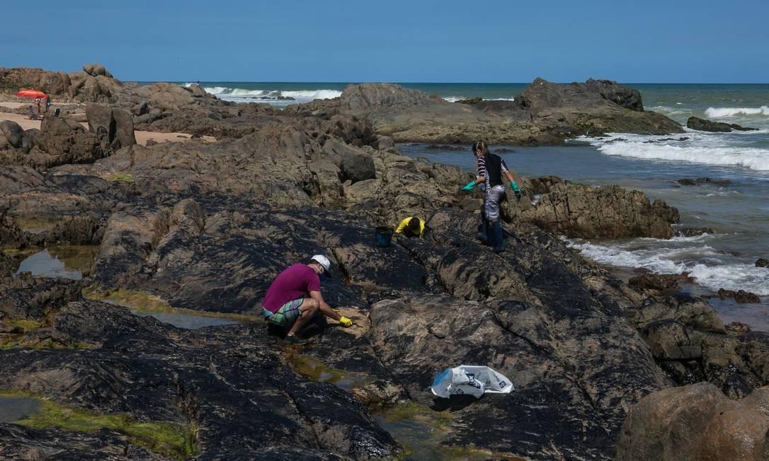 Voluntários recolhem o óleo que atingiu a praia de Pedra do Sal, Salvador, Bahia Foto: ANTONELLO VENERI / AFP