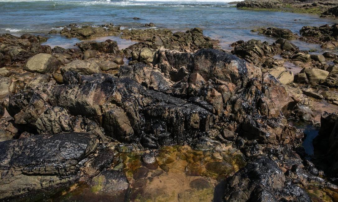 Pedras cobertas de óleo na Praia so Sal, Salvador, Bahia. O óleo tambem atingiu a praia do Flamengo, Ondina e Farol da Barra Foto: ANTONELLO VENERI / AFP