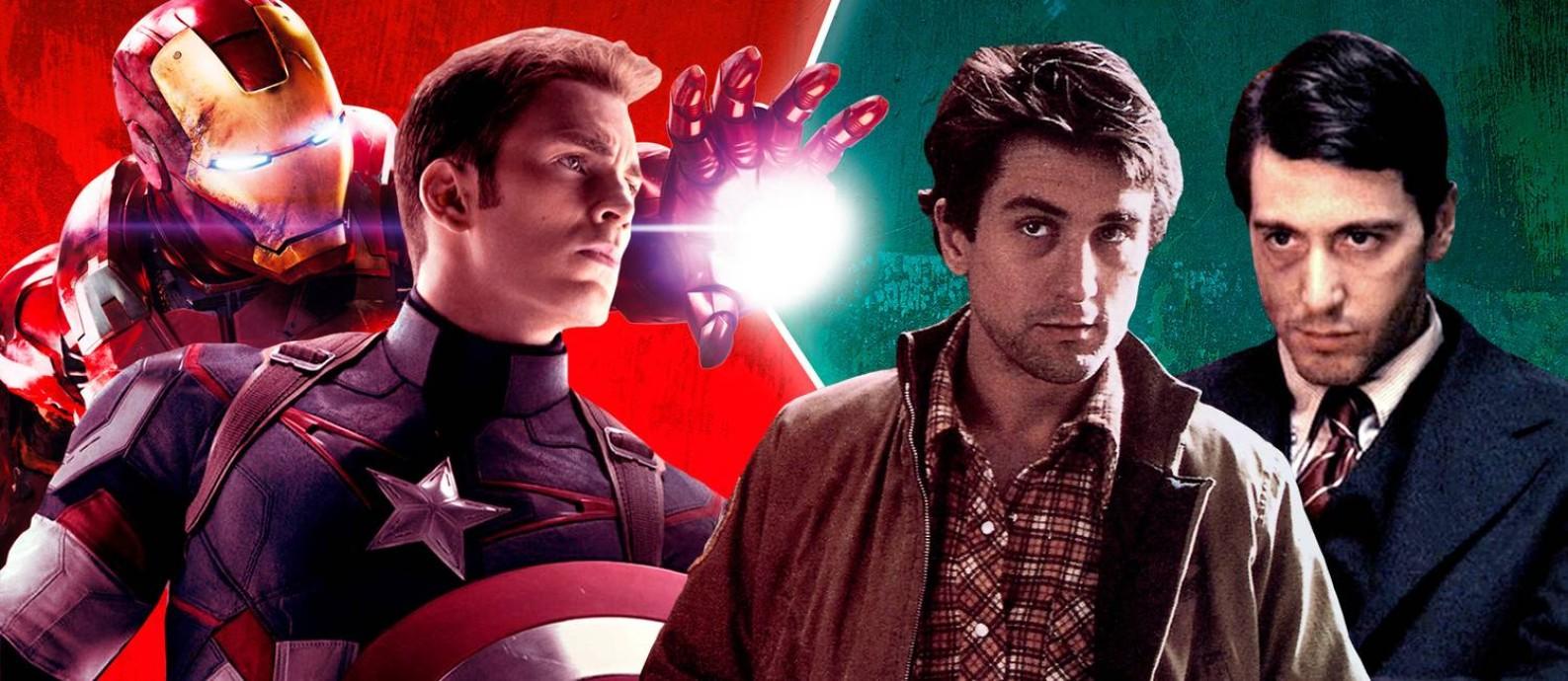 Thanos é coisa do passado: os novos inimigos dos heróis da Marvel são os diretores Francis Ford Coppola e Martin Scorsese, criadores de obras-primas como 'O poderoso chefão' e 'Taxi driver' Foto: Arte O Globo