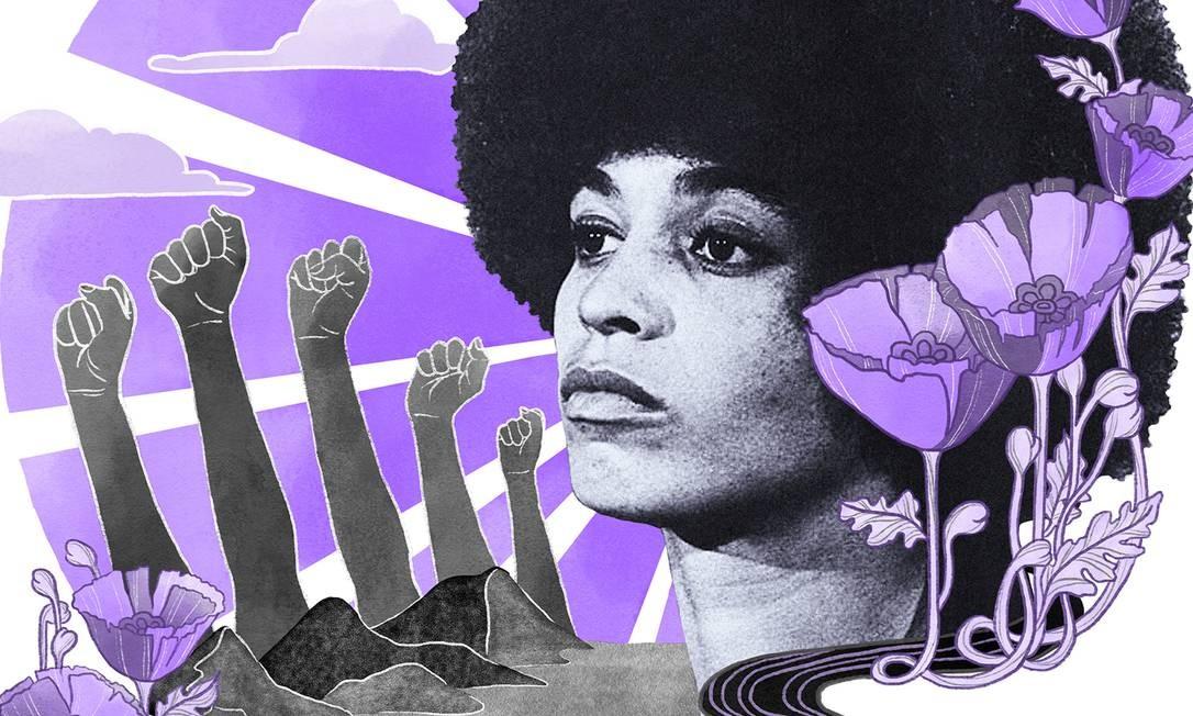 Angela Davis é um dos principais nomes do feminismo negro no mundo Foto: Arte de Lari Arantes