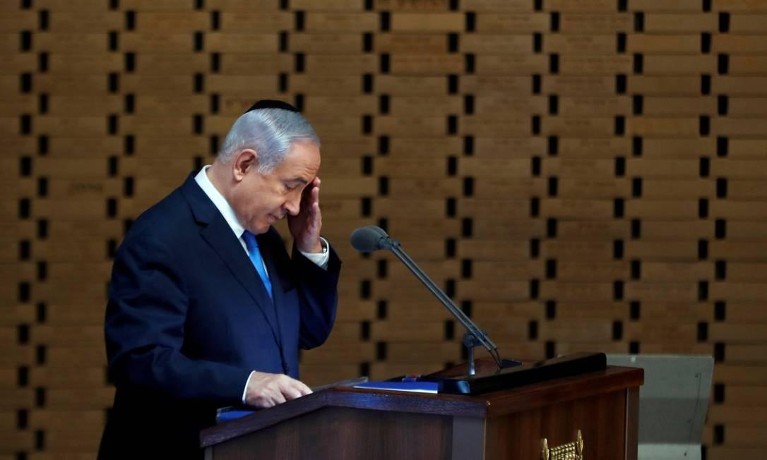 Primeiro-ministro israelense, Benjamin Netanyahu, durante evento em memória de soldados israelenses mortos em Guerra do Yom Kippur, em 1973 Foto: RONEN ZVULUN / REUTERS