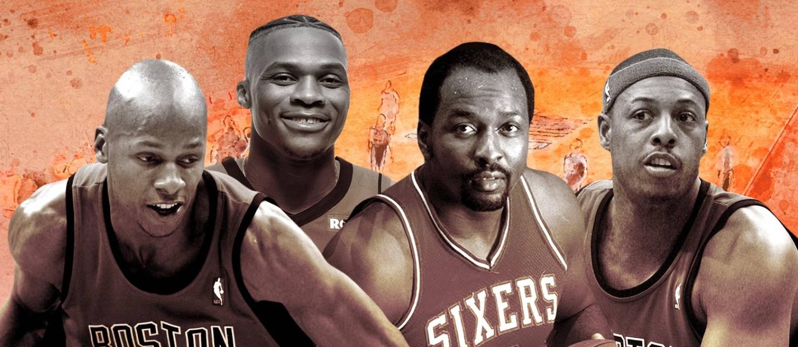 Ray Allen, Westbrook, Malone e Pierce estão entre os maiores da NBA vistos pelos brasileiros Foto: Editoria de Arte