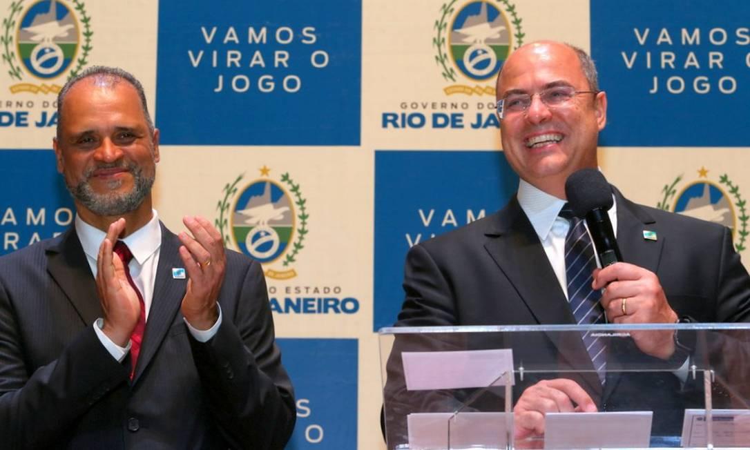 Witzel discursa na posse de Jorge Gonçalves, empossado como secretário de Trabalho e Renda, nova pasta do governo Foto: Philippe Lima / Divulgação / Governo do Rio