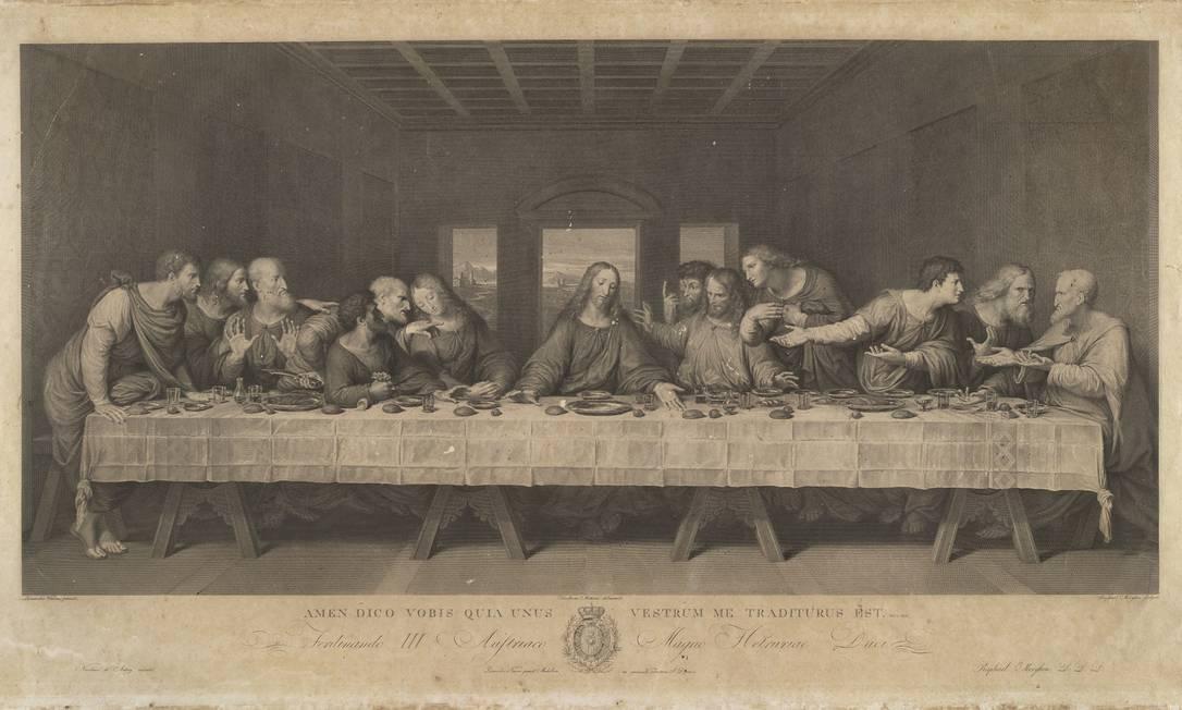 """""""A Última Ceia"""", gravura a água-forte de Raffaello Morghen, que reproduziu diversas obras de Da Vinci Foto: Divulgação / Agência O Globo"""