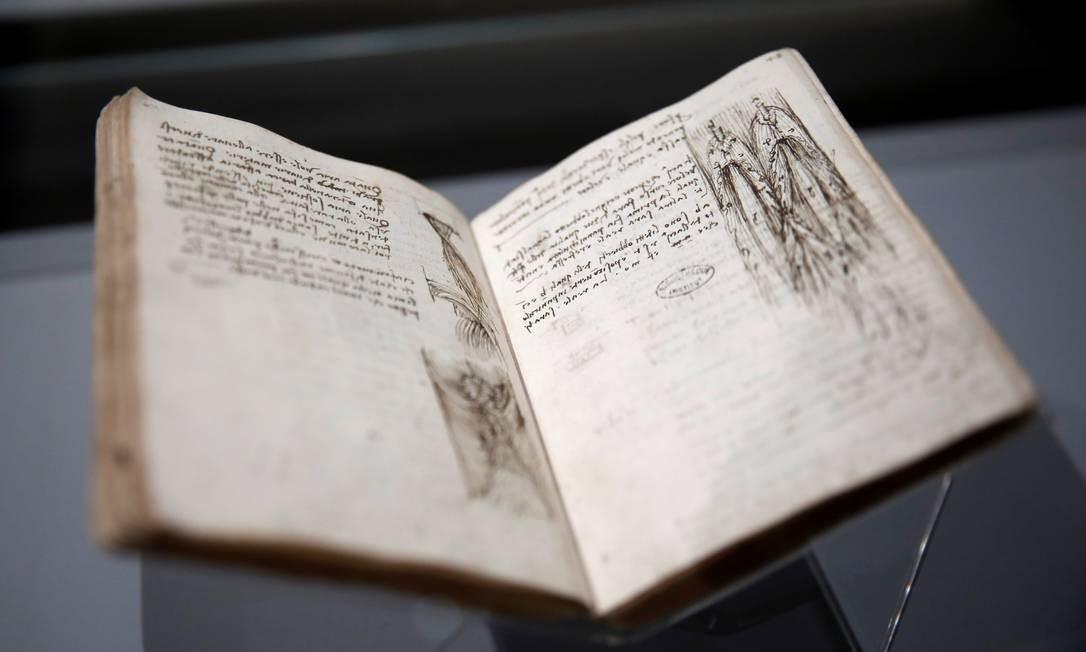 Desenho de Leonardo da Vinci num dos cadernos utilizados pelo mestre renascentista Foto: BENOIT TESSIER / REUTERS