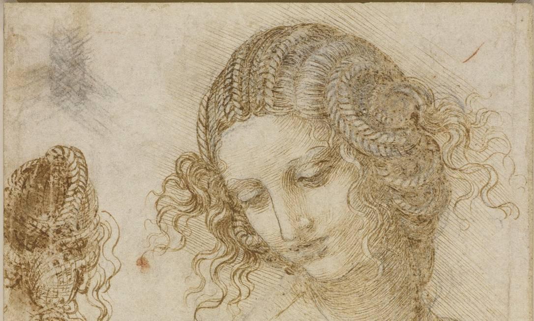 """Estudos para a cabeça de Leda, feitos aproximadamente em 1505-1506, para a tela """"Leda e o cisne"""", tambpém na exposição. O desenho faz parte da Coleção Real do Castelo de Windsor, e foi cedido pela rainha Elizabeth II. Foto: Divulgação/THE ROYAL COLLECTION / THE ROYAL COLLECTION"""