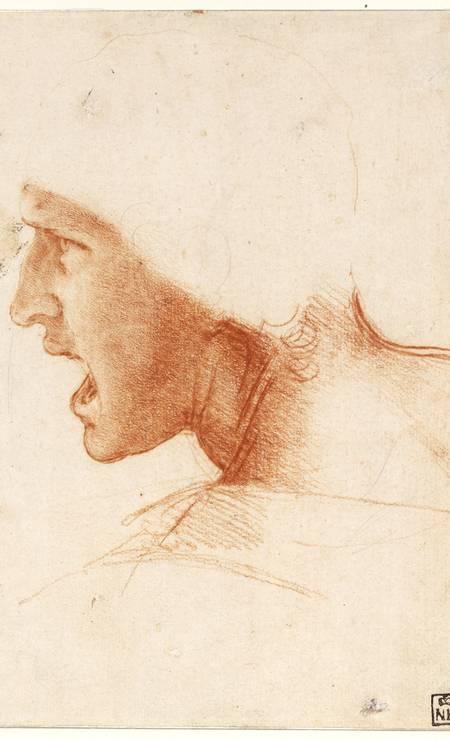 Estudo de figura para 'A batalha de Anghiari', afresco monumental que Da Vinci pintou por volta de 1504 no Palazzo Vecchio, em Veneza, desaparecido décadas depois. O desenho pertence ao Museu de Belas Artes de Budapeste Foto: Divulgação/ Jozsa Denes / Jozsa Denes