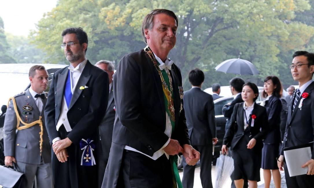 Presidente Jair Bolsonaro chega para cerimônia de proclamação da ascensão do imperador japonês Naruhito ao trono, em Tóquio. (Photo by Koji Sasahara / POOL / AFP) Foto: KOJI SASAHARA / AFP