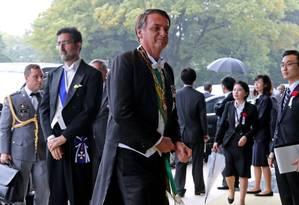 Presidente Jair Bolsonaro chega para cerimônia de proclamação da ascensão do imperador japonês Naruhito ao trono, em Tóquio Foto: KOJI SASAHARA / AFP