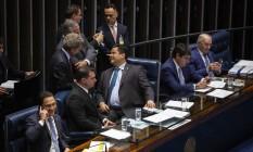 A mesa diretora do Senado comanda a votação do segundo turno da reforma da Previdência Foto: Daniel Marenco / Agência O Globo