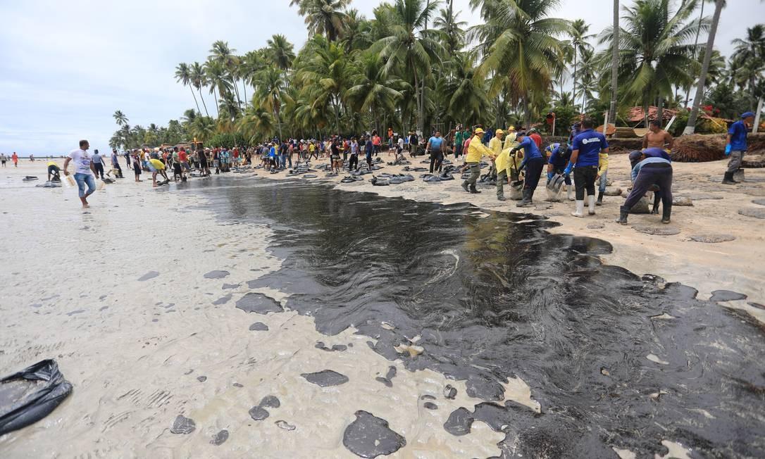 Funcionários da Prefeitura de Tamandaré, no estado de Pernambuco, trabalham na retirada de óleo da praia dos Carneiros Foto: Bruno Campos/JC Imagem/18-10-2019