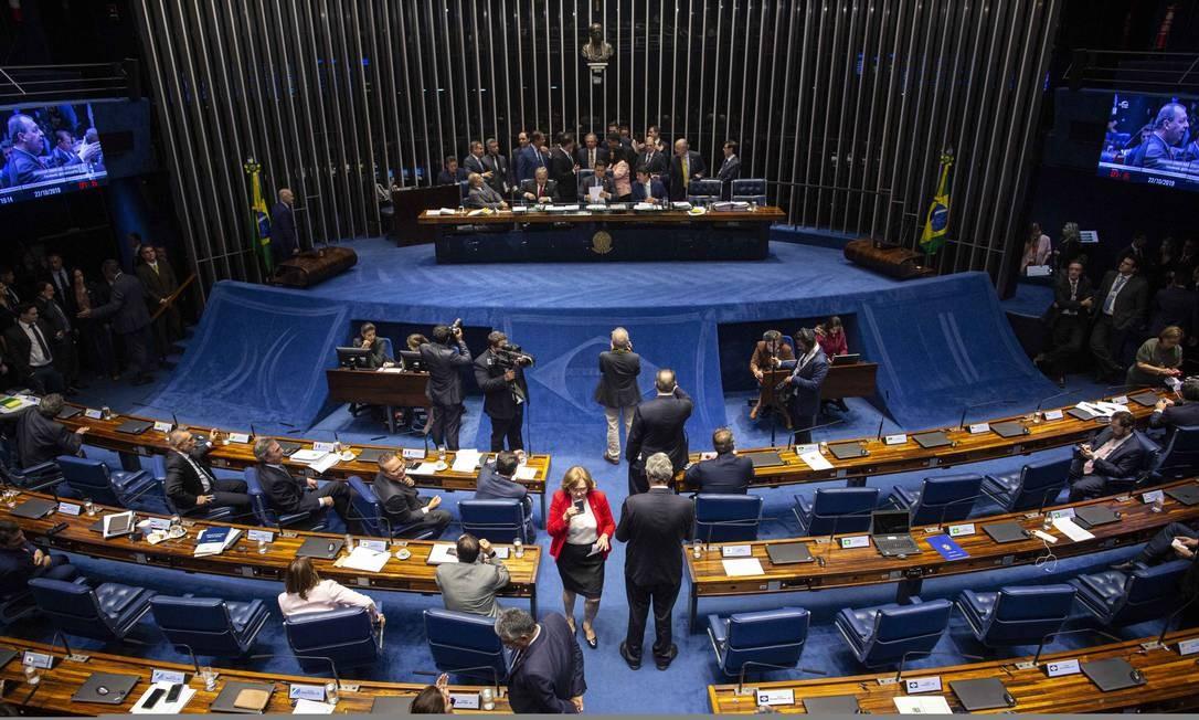 Senado Federal aprovou a reforma da Previdência nesta terça-feira. Foram 60 votos a favor contra 19 contrários Foto: Daniel Marenco / Agência O Globo