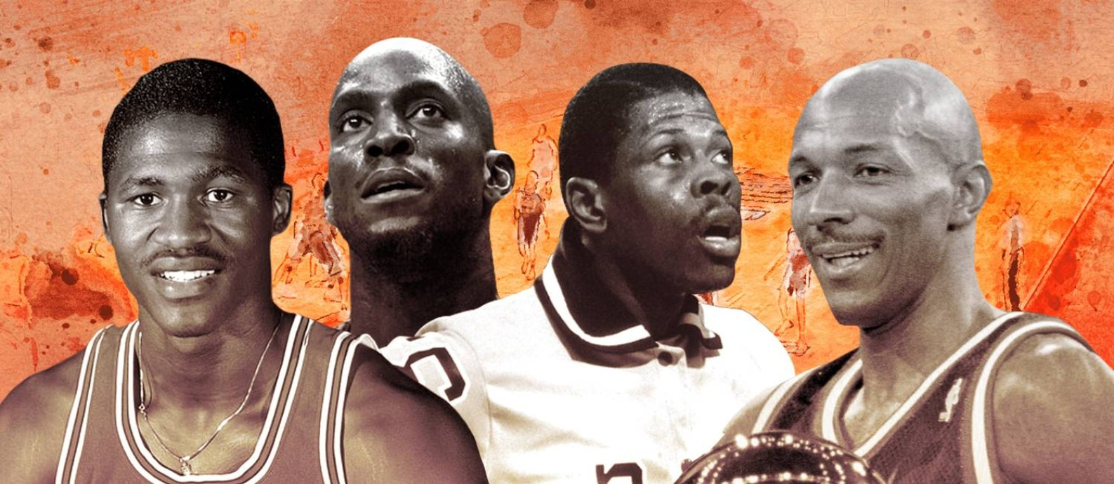 Wilkins, Garnett, Ewing e Drexler: alguns dos maiores da NBA vistos pelos brasileiros Foto: Editoria de Arte