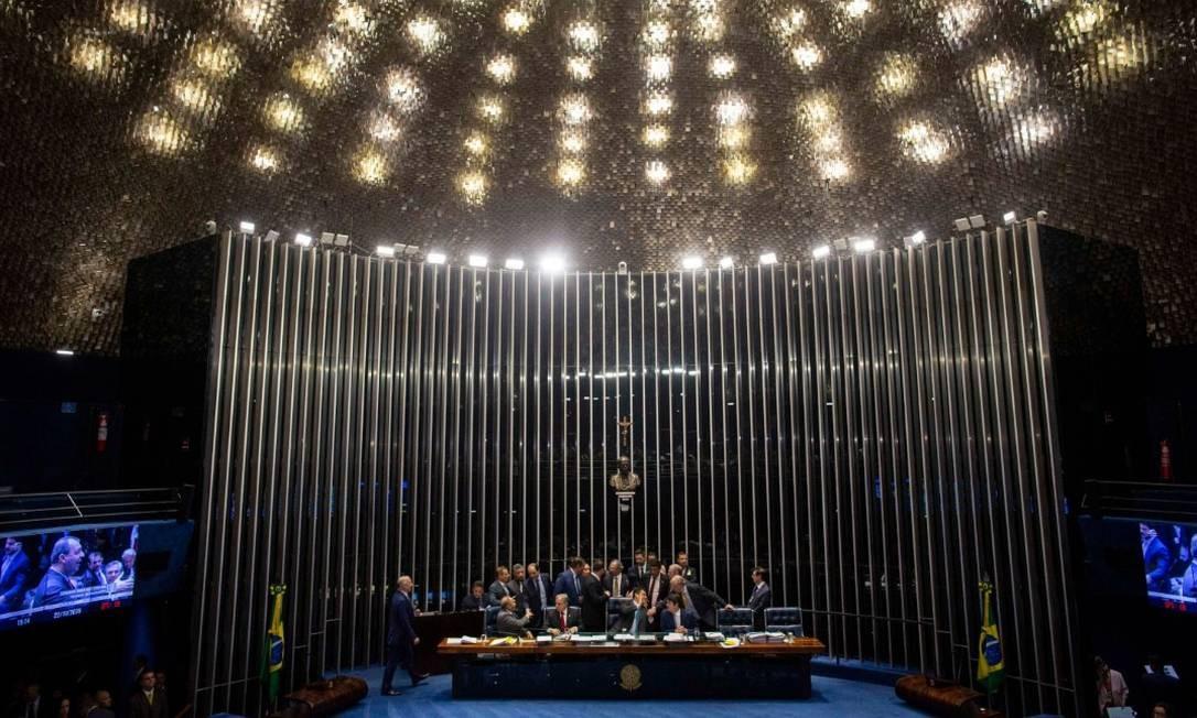 Senado Federal aprovou a reforma da Previdência na terça-feira. Foram 60 votos a favor contra 19 contrários Foto: Daniel Marenco -Agência O Globo