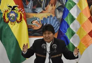 Evo Morales durante declaração realizada em La Paz Foto: AIZAR RALDES / AFP / 23-10-2019