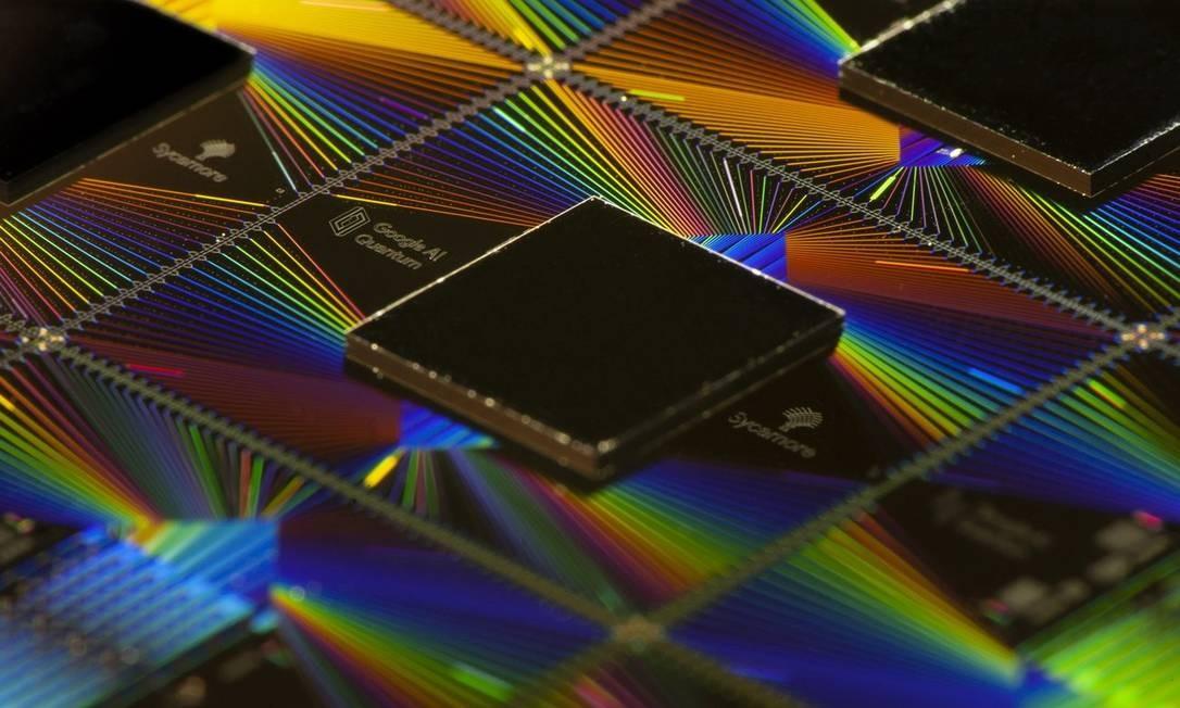 O chip Sycamore desenvolvido pelo Google, com 54 qubits Foto: DIVULGAÇÃO