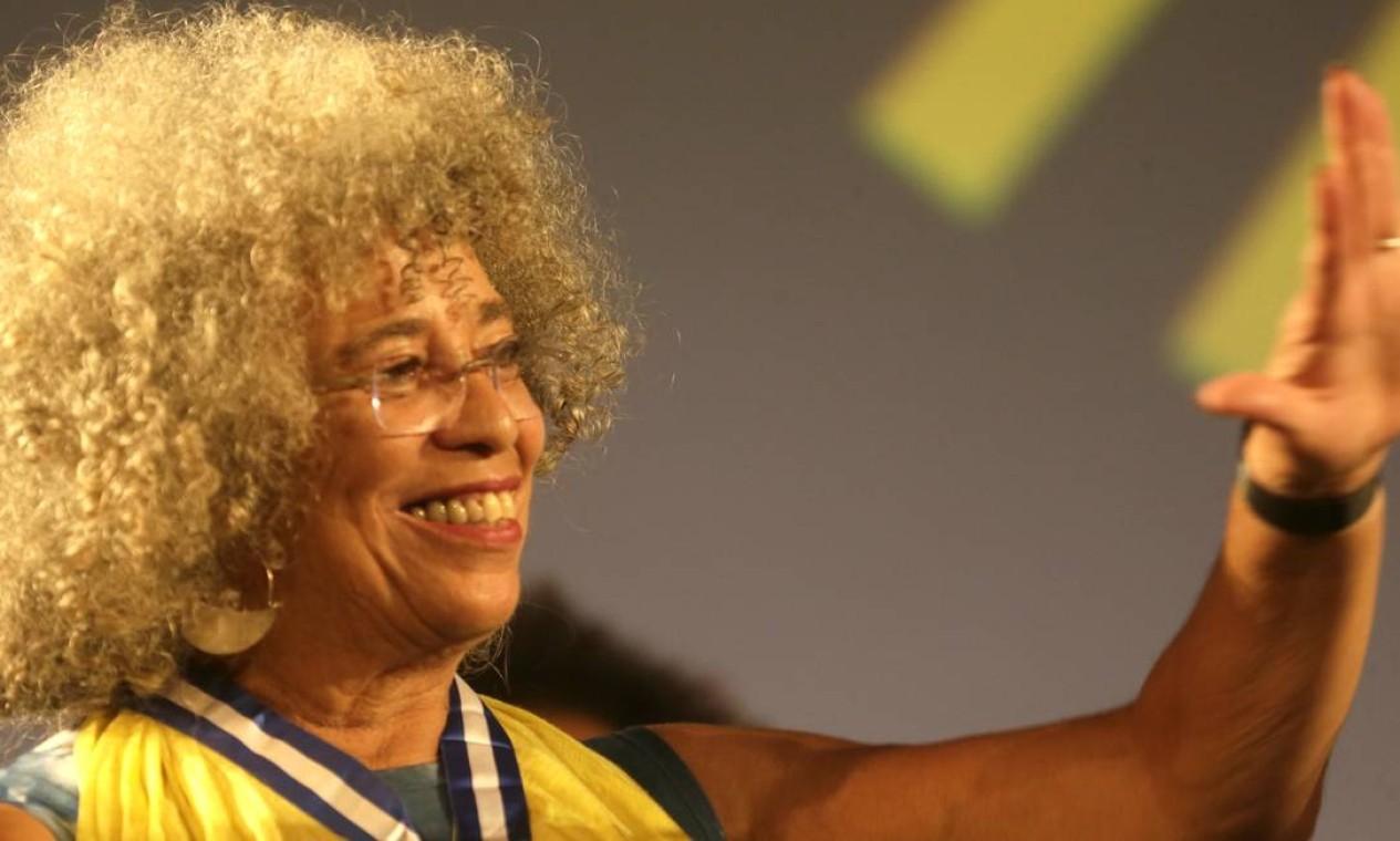 A ex-Pantera Negra agredeceu à plateia pela acolhida calorosa Foto: Pablo Jacob / Agência O Globo