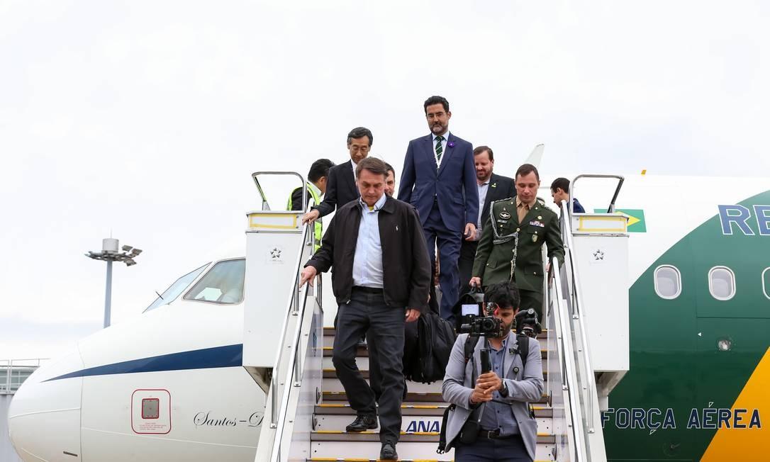 Antes de visitar a China, o presidente Bolsonaro foi ao Japão, onde se encontrou com empresários e assistiu à cerimônia de entronização do imperador Naruhito Foto: José Dias / PR