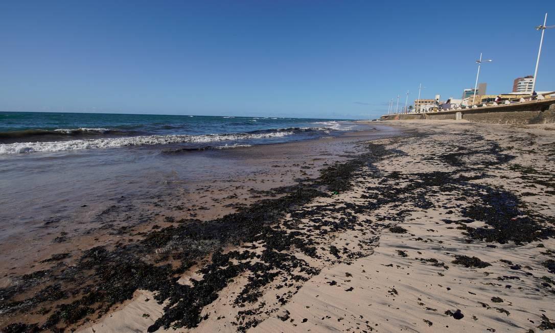 Manchas de óleo na Praia da Pituba, em Salvador Foto: Luca Castro / Agência O Globo