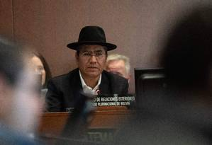 Chanceler da Bolívia, Diego Pary, durante sessão da OEA que discutiu a situação na Bolívia Foto: NICHOLAS KAMM / AFP