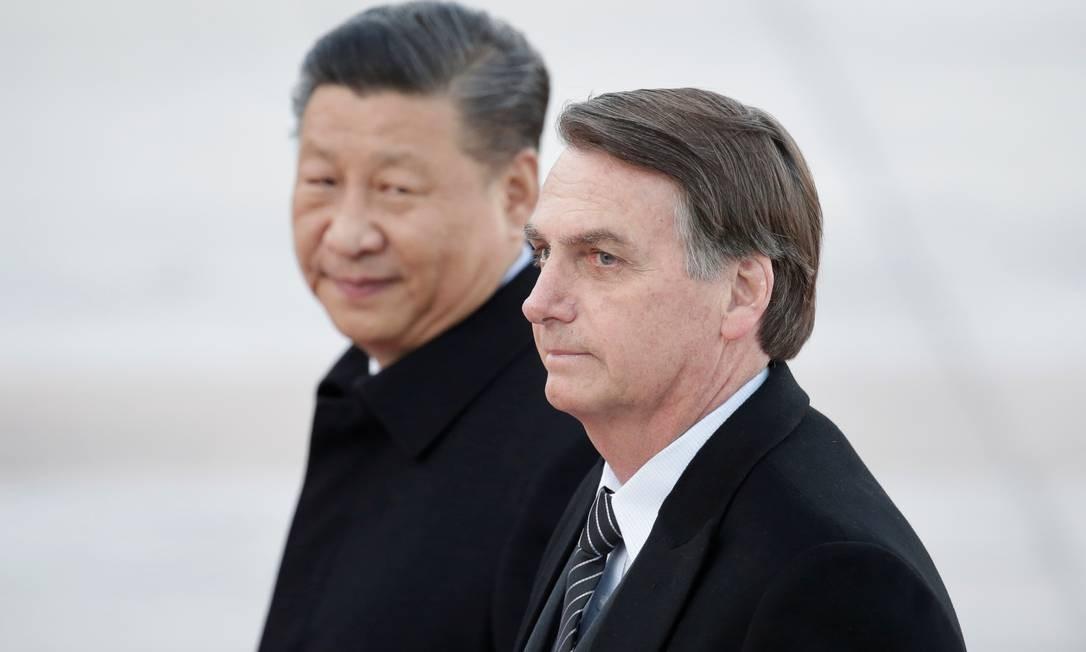 Jair Bolsonaro e o Presidente Chinês Xi Jinping no Grande Salão do Povo em Pequim, China. Foto: JASON LEE / REUTERS