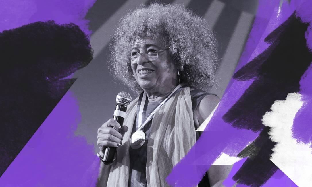 """Angela Davis no palco do """"Encontro de CinemaNegro ZózimoBulbul: Brasil, África, Caribe e outras diásporas"""", no Cine Odeon, no dia 23 de outubro Foto: Arte sobre foto de Antonio Scorza"""