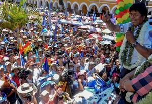 Evo Morales fala a apoiadores em Cochabamba: resultados contestados Foto: STR / AFP