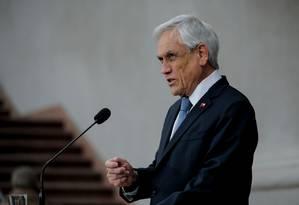 Piñera durante coletiva para a imprensa em setembro Foto: JAVIER TORRES / AFP