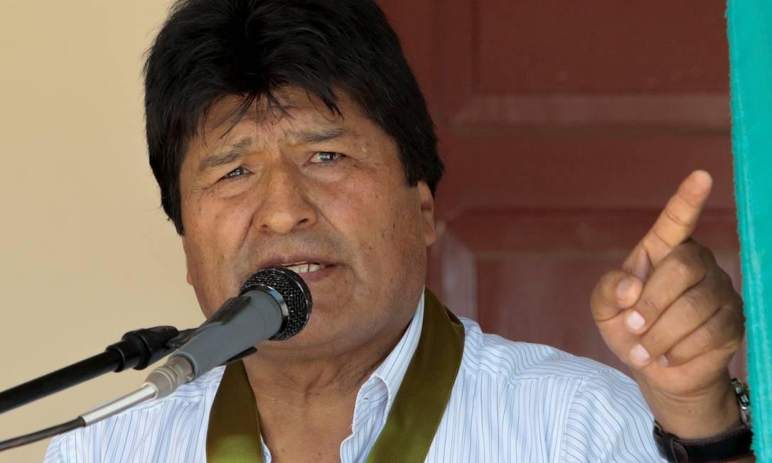 Bolivia's President Evo Morales, who turns 60 today, speaks during a ceremony at the UMOPAR (Mobile Police Rural Patrol Unit) barracks in Chimore, Bolivia, October 26, 2019. REUTERS/Manuel Claure NO RESALES. NO ARCHIVES. Foto: STRINGER / REUTERS