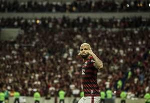Gabigol comemora o gol pelo Flamengo Foto: Guito Moreto / Agência O Globo
