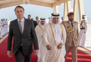 Presidente Jair Bolsonaro, no Emirado do Catar Foto: - / AFP