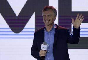 Mauricio Macri, em discurso após anúncio do resultado das eleições Foto: JUAN MABROMATA / AFP
