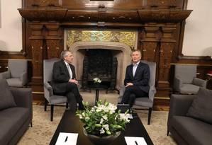 Fernández (à esquerda) é recebido por Macri na Casa Rosada Foto: Presidência da República da Argentina