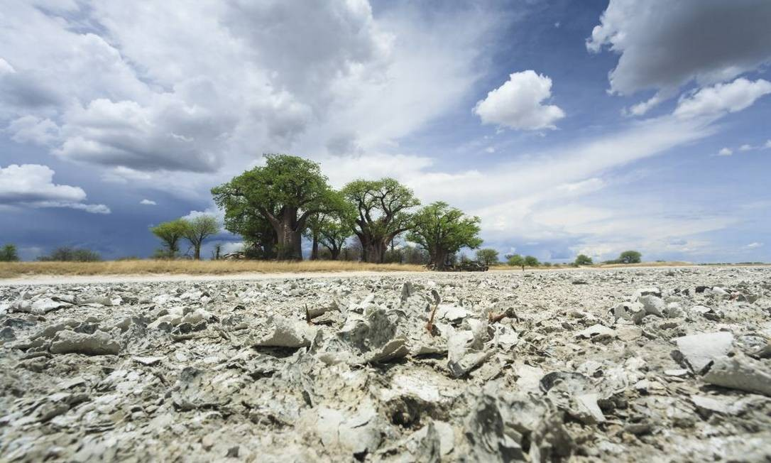 Parte das salinas de Makgadikgadi, na Botsuana Foto: Christophe Courteau / Gamma-Rapho via Getty Images