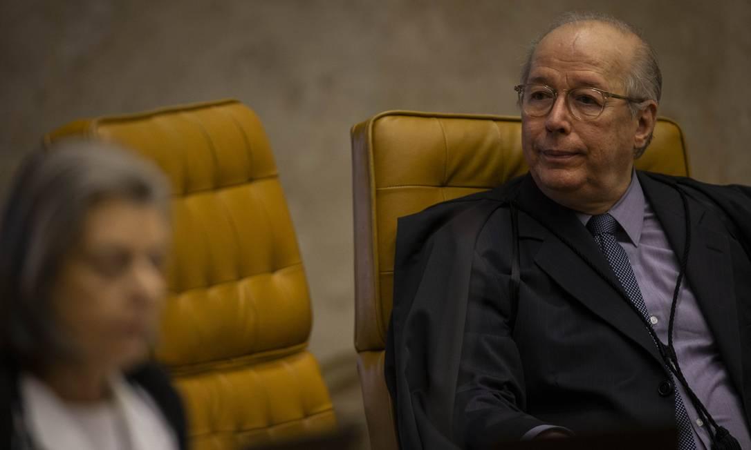 O ministro Celso de Mello, durante sessão do Supremo Tribunal Federal Foto: Daniel Marenco/Agência O Globo/17-10-2019