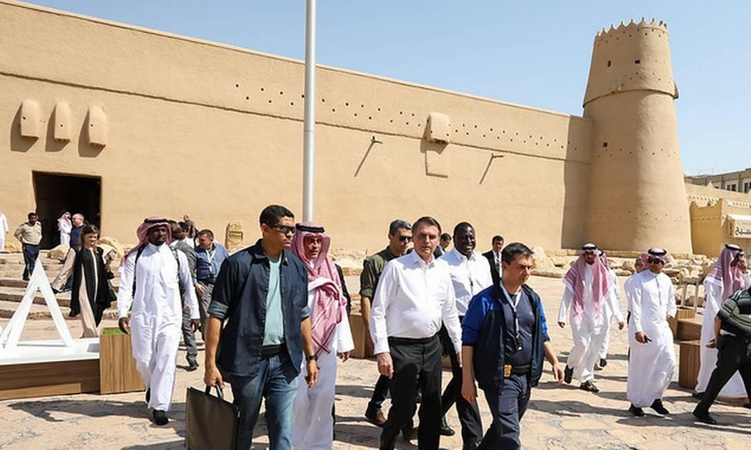 Bolsonaro durante viagem a Riade, na Arábia Saudita Foto: Divulgação