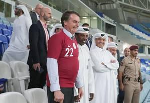 Bolsonaro visita ao estádio de futebol Al Janoub, em Doha, no Catar. Foto: Valdenio Vieira / Presidêmcia/ divulgação