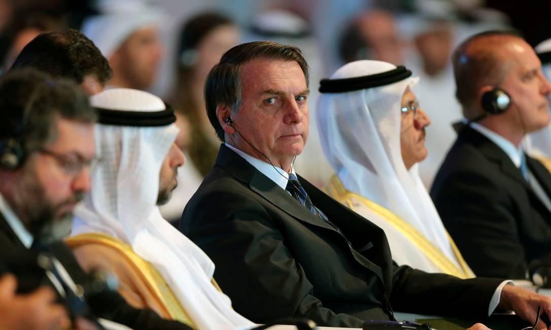Presidente Jair Bolsonaro durante forum econômico em Abu Dhabi, nos Emirados Arabes Foto: Satish Kumar Subramani / REUTERS
