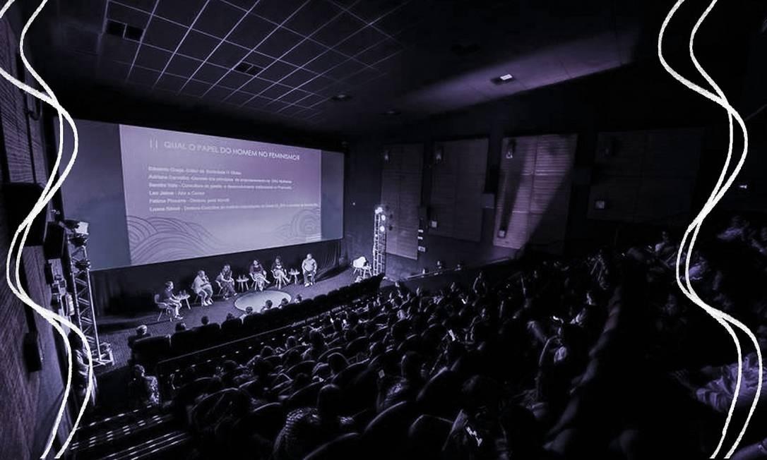 Seminário lotou uma sala de cinema para debate sobre mercado de trabalho e gênero Foto: Arte sobre foto de Alex Ferro
