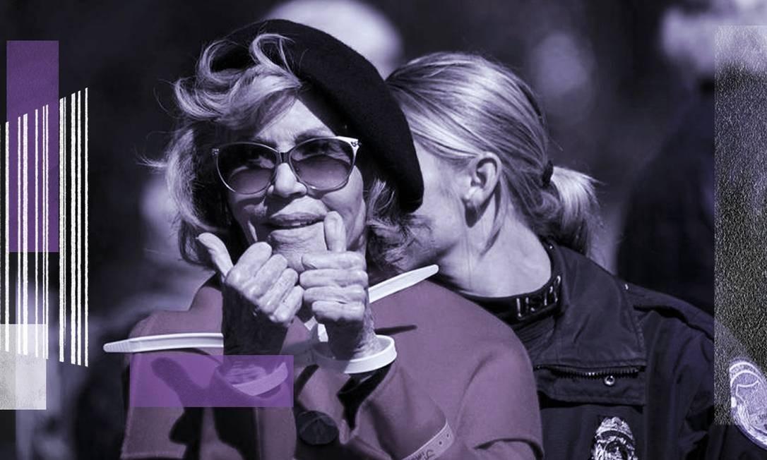 Atriz Jane Fonda é presa durante protesto Foto: Arte sobre foto de Sarah Silbiger/Reuters