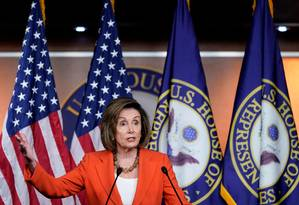 A presidente da Câmara dos Deputados dos Estados Unidos, a democrata Nancy Pelosi Foto: JOSHUA ROBERTS / REUTERS