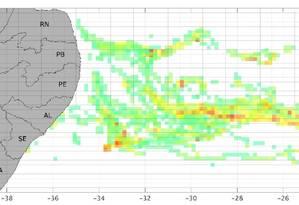 Simulação do Lamce (Laboratório de Métodos Computacionais em Engenharia), da Coppe/UFRJ, mostra nos pontos vermelhos a localização mais provável da fonte que derramou o óleo que contaminou a costa nordestina a partir de 30 de agosto de 2019. Foto: Luiz Landau / Coppe-UFRJ
