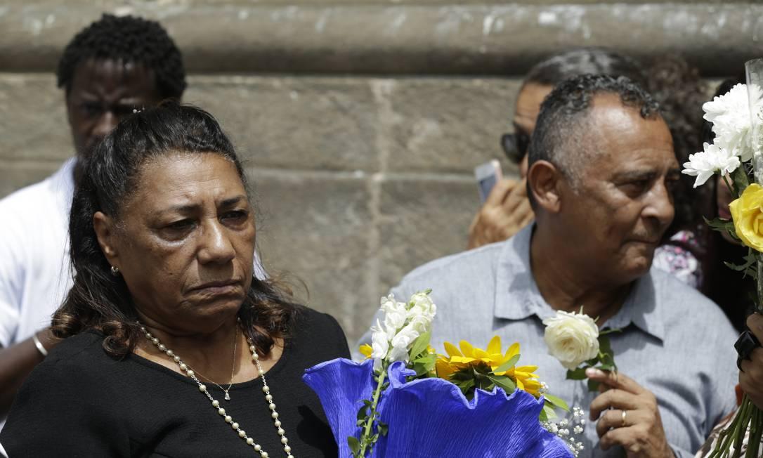 Os pais de Marielle Franco durante solenidade por um ano de seu assassinato Foto: Gabriel de Paiva / Agência O Globo