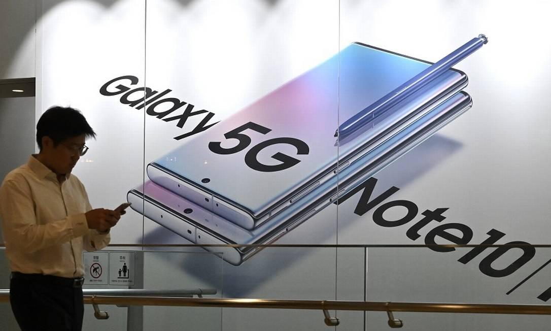 Vendas do Galaxy Note 10 não foram suficientes para segurar o lucro operacional. Foto: JUNG YEON-JE / AFP