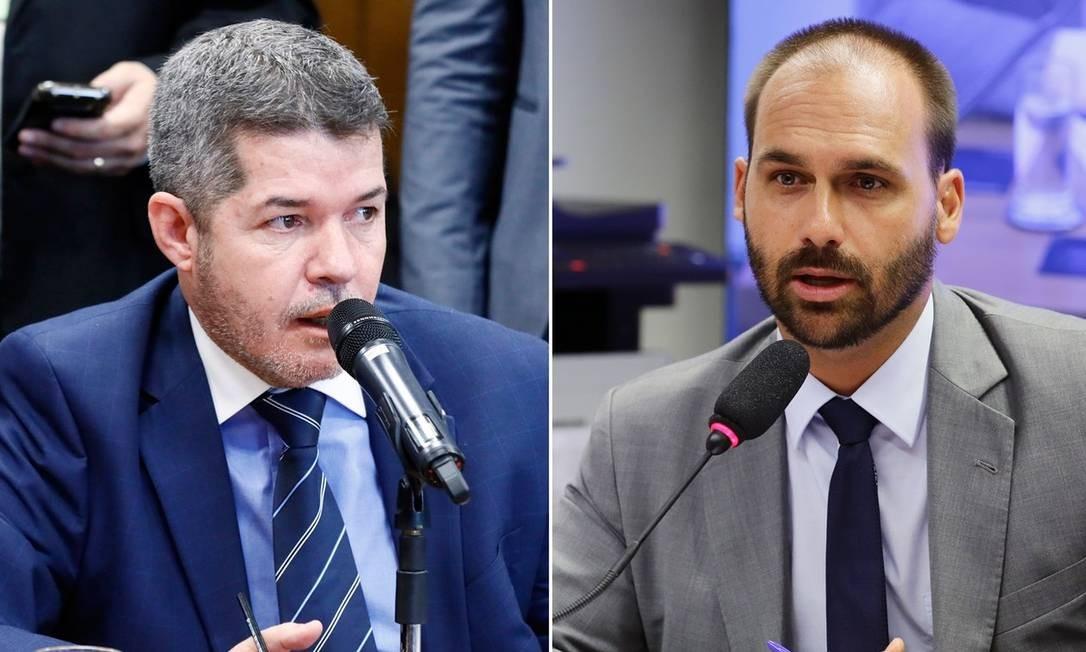 Delegado Waldir e Eduardo Bolsonaro Foto: Luis Macedo e Vinicius Loures/Câmara dos Deputados